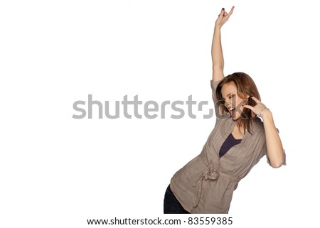 Young woman dancing and posing - stock photo