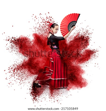 young woman dancing flamenco against explosion isolated on white - stock photo