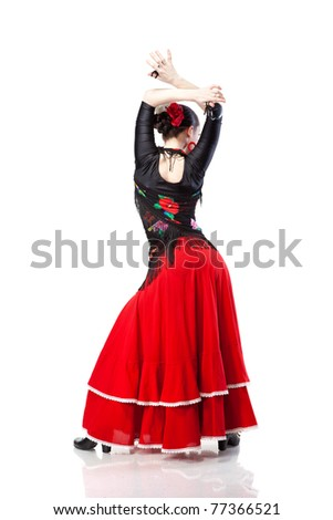 young woman dancing flamenco from back isolated on white - stock photo