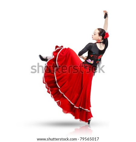 young woman dancing flamenco with castanets isolated on white - stock photo