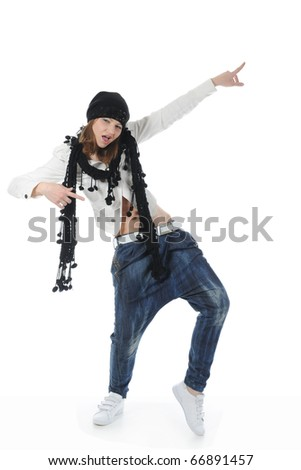 Young woman dancing hip-hop. Isolated on white background