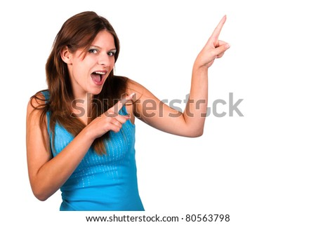 young woman dancing in a blue top - stock photo