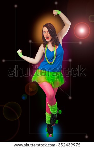 Young woman dancing in sexy roller disco style costume