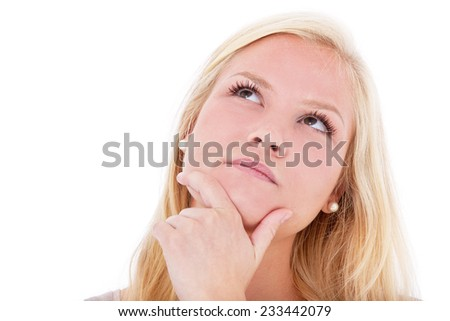 Young woman deliberates decision. All on white background. - stock photo