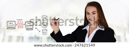 Young woman designing her website - stock photo