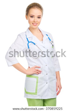 Young woman doctor with stethoscope isolated