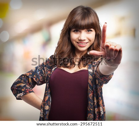 young woman doing a frame gesture - stock photo