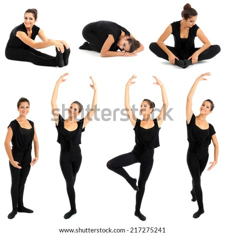Young woman doing ballet stretching warm-up exercise, isolated on white - stock photo
