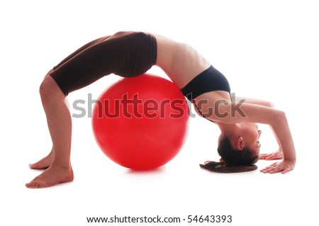 Young woman doing exercise- in bridge pose on white backgrounds - stock photo