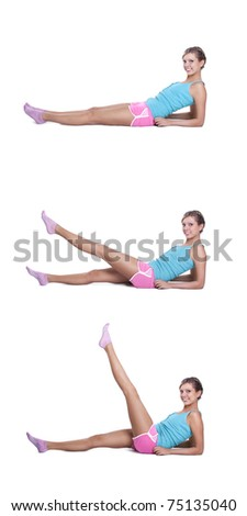 Young woman doing exercises - stock photo