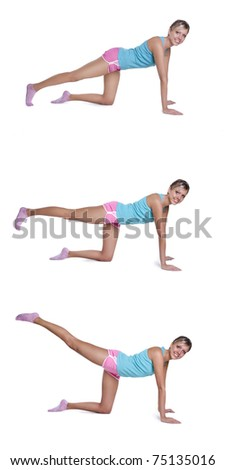 young woman doing exercises for  back of thigh - stock photo