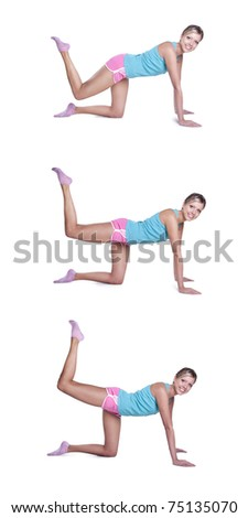 Young woman doing exercises for buttocks - stock photo