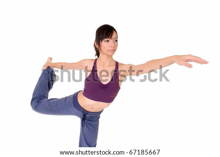Young woman doing expert yoga excise over white. - stock photo