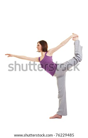 Young woman doing fitness exercises for her back - stock photo