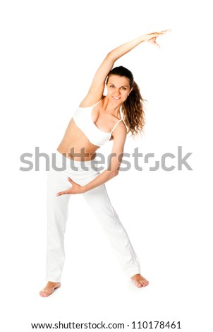 young woman doing fitness exercises on a white background - stock photo