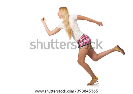 Young woman doing physical exercises isolated on white