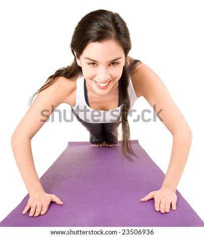 Young Woman Doing Pushups - stock photo
