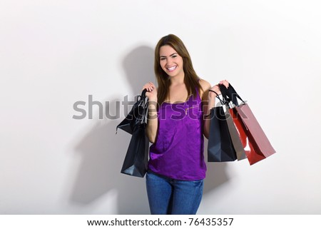 young woman doing shopping - stock photo