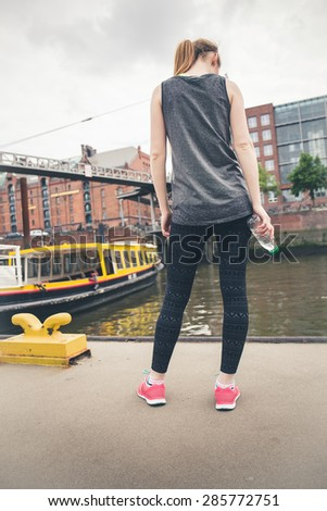 Young woman doing sport in Hamburg