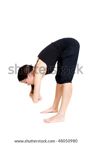 young woman doing stretch exercise. isolated on white