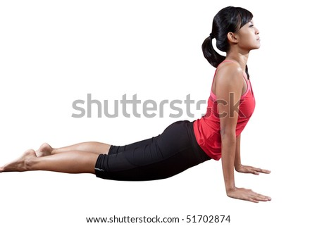 Young woman doing stretching of her back exercise,  isolated on white background.