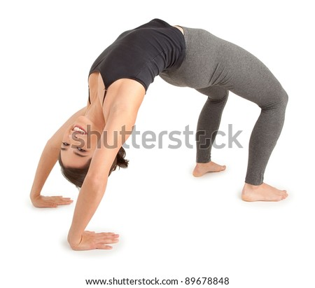 Young Woman doing the Bridge Pose