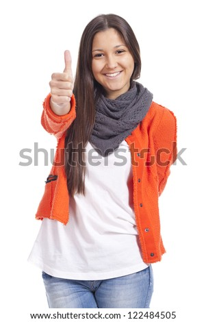 young woman doing thumb up... - stock photo