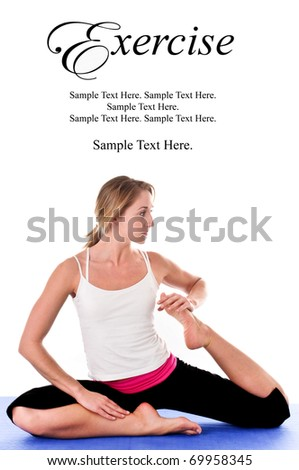 Young Woman Doing Yoga Exercise with Text Space Above - stock photo