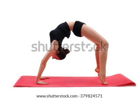 Young woman doing yoga exercises isolated on white background
