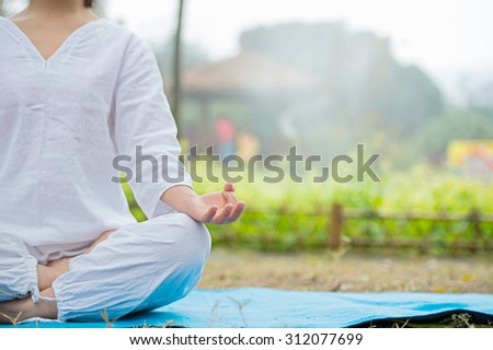 Young woman doing yoga in the park. - stock photo