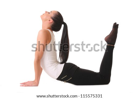 young woman doing yoga . isolated on white - stock photo