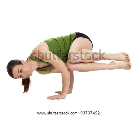 young woman doing yoga, isolated with clipping path