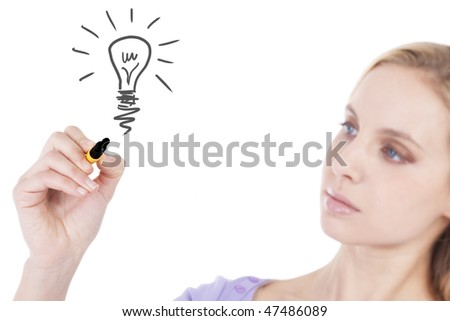 Young woman drawing light bulb, isolated on white; ecology/business concept