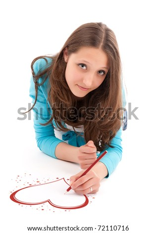 young woman draws a pencil on a white floor. Isolated on white - stock photo