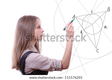 young woman draws geometric shapes