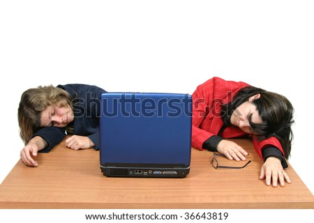 young woman dreaming on laptop, business photo - stock photo