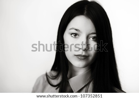 young woman dress up in a mans shirt and tie - stock photo