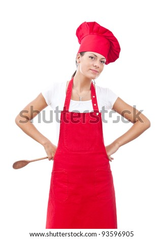 young woman dressed as a cook with cap in white backgound - stock photo