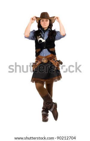 Young woman dressed as a cowboy. Isolated on white - stock photo