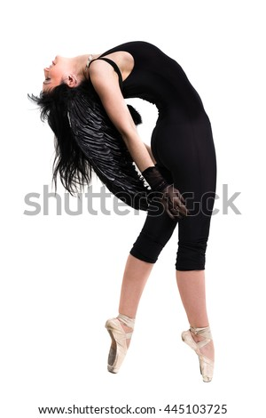 young woman dressed as dark angel dancing, isolated in full body on white - stock photo