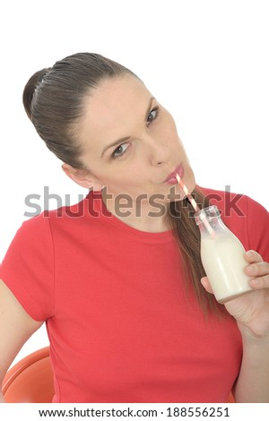 Young Woman Drinking Milk - stock photo