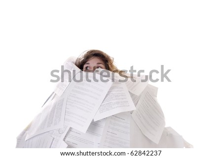 young woman drowning in a mountain of papers - stock photo