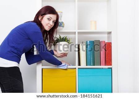 Young woman during dusting furniture at home - stock photo