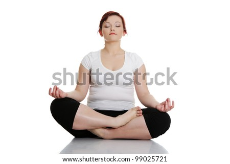 Young woman during fitness time and exercising yoga, isolated on white background - stock photo