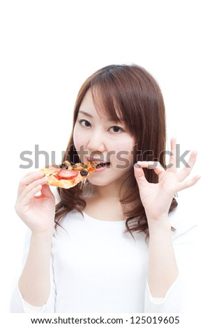 Young woman eating pizza, isolated on white background