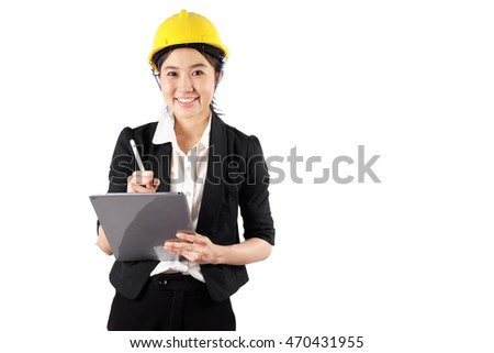 Young woman engineer holding digital tablet wtih smile isolated on white background