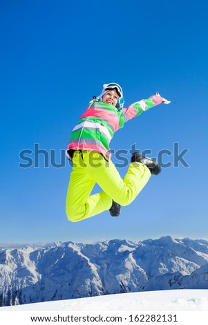 Young  woman enjoy rest on ski holiday in mountains  - stock photo
