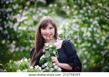 Young woman enjoy the freshness of the spring days with. - stock photo