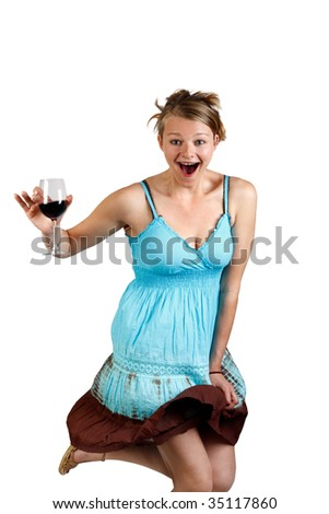 young woman enjoying herself with a glass of wine - stock photo