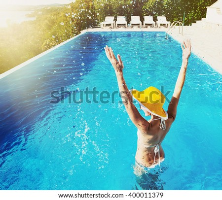 Young woman enjoying summer - stock photo